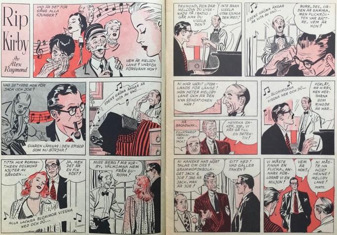 Uppslaget med Rip Kirby i Karl-Alfred nr 26, 1953. ©Bulls