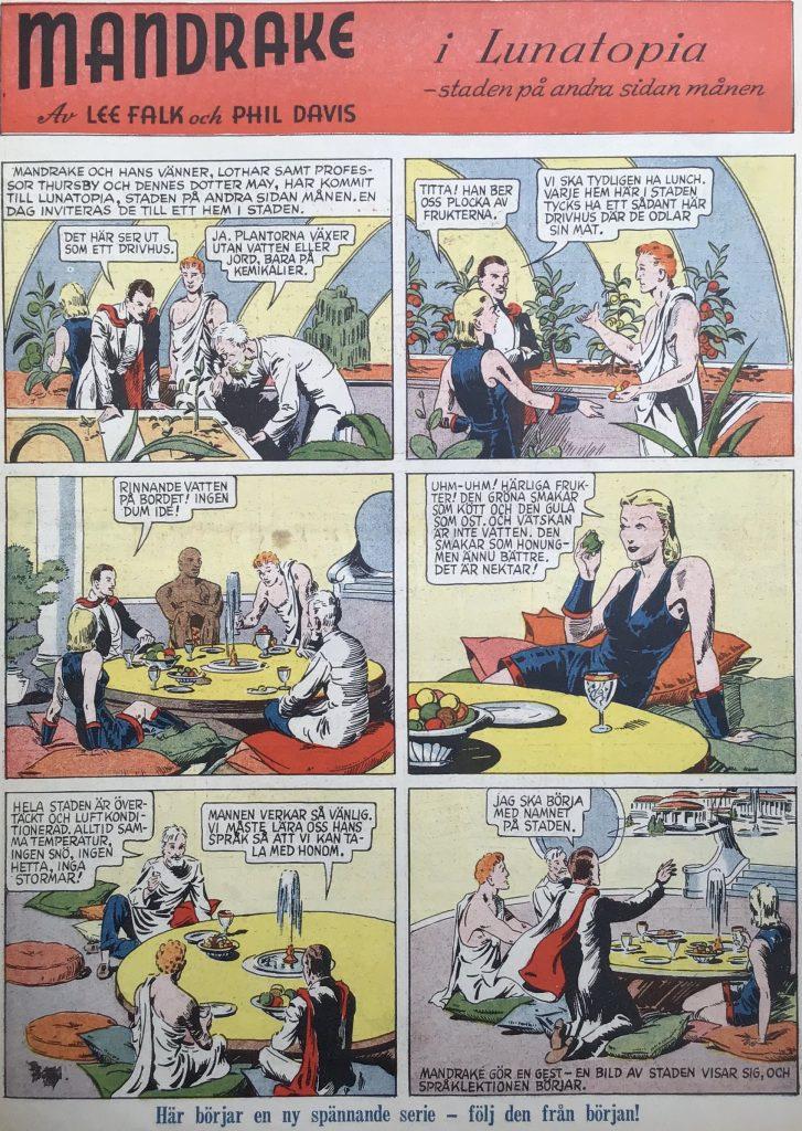 En sida med Mandrake ur Karl-Alfred nr 37, 1947. © Bulls