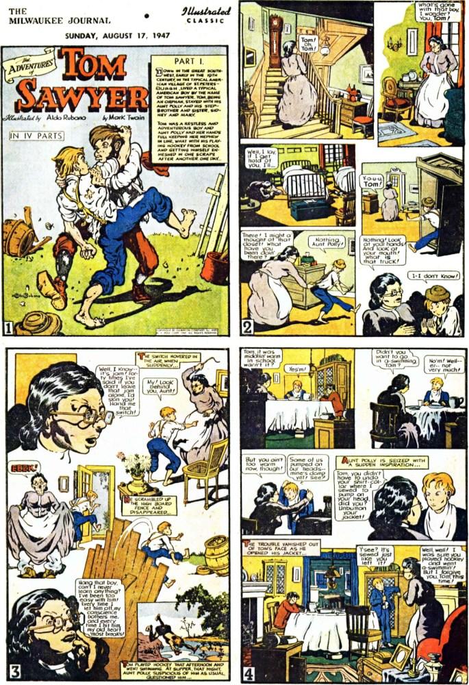 Inledande fyra sidor (av totalt 64) ur Tom Sawyer, från 17 augusti, 1947. ©Gilberton