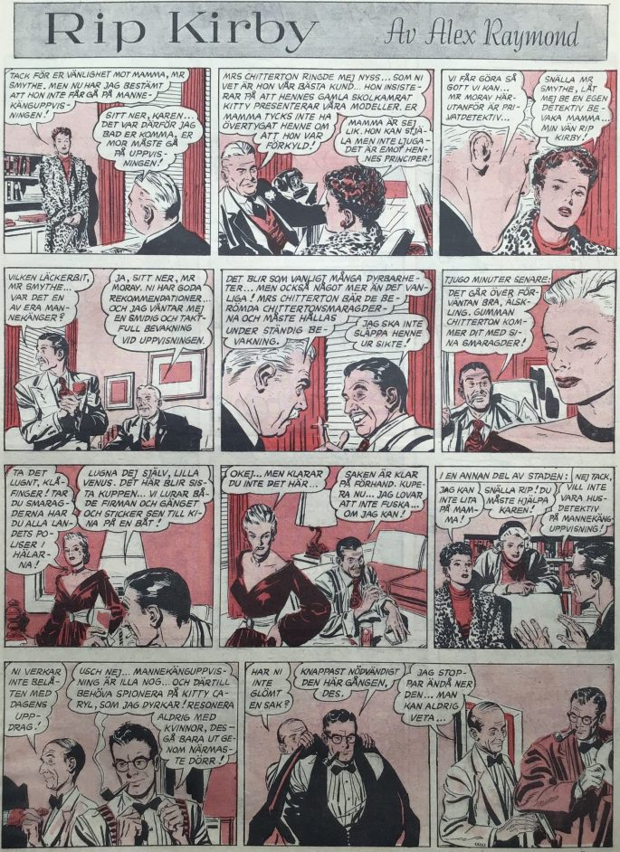 Sidan med Rip Kirby i Karl-Alfred nr 18, 1952. ©Bulls