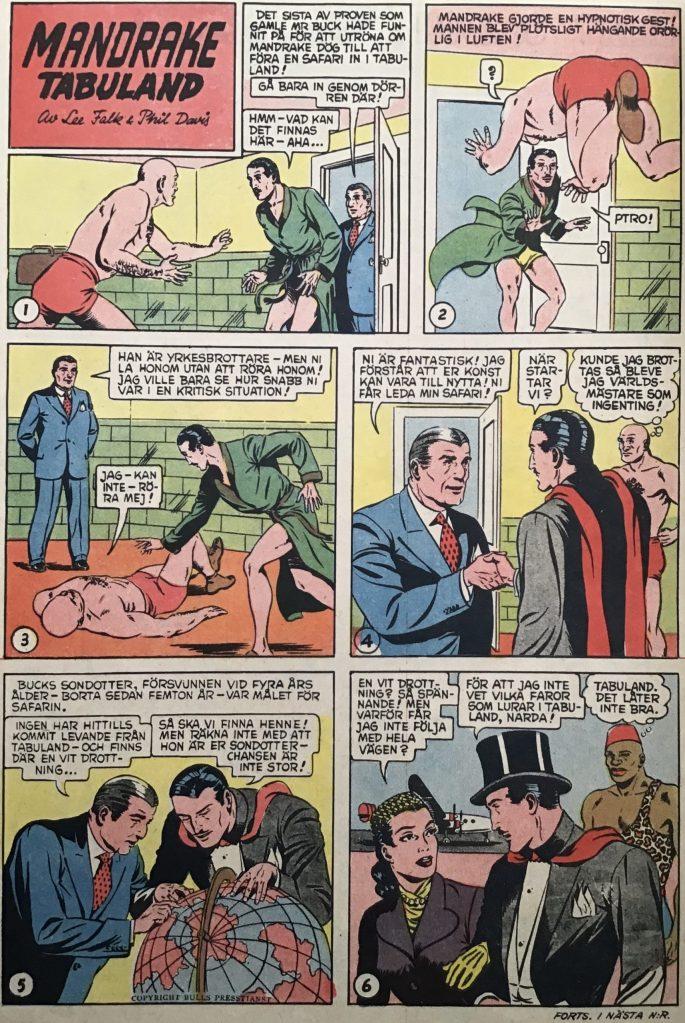 En sida med Mandrake ur Karl-Alfred nr 1, 1953. ©Bulls