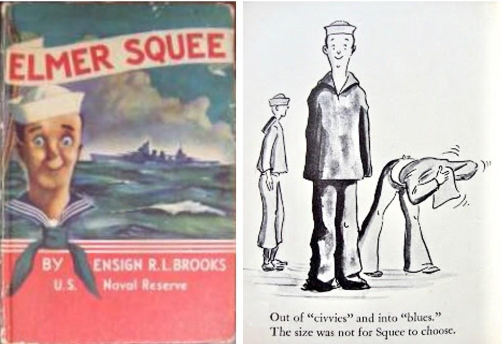 Boken om Elmer Squee, och en ruta med Elmer på rimmad vers. ©McMillan
