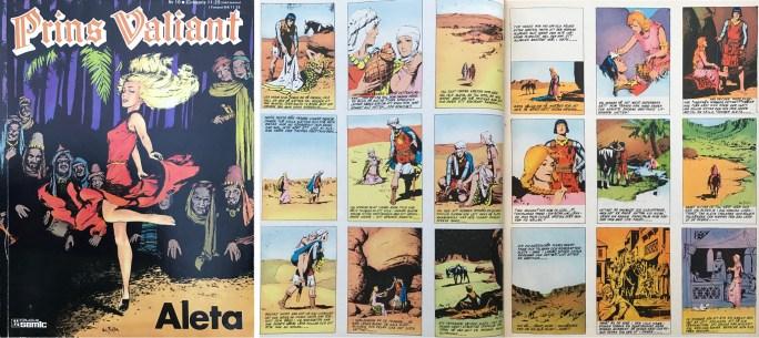Motsvarande sidor i seriealbumet Aleta från Semic, som liksom Karl-Alfred publicerade 1,5 söndagssidor per helsida. ©Bulls