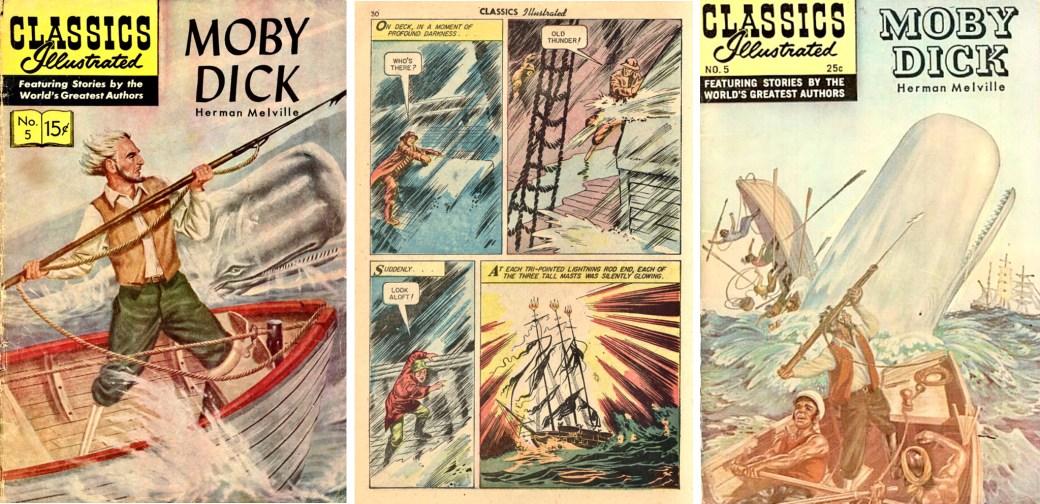 Omslag (1956), en sida ur inlagan, och nytt omslag (1969) till CI #5. ©Gilberton