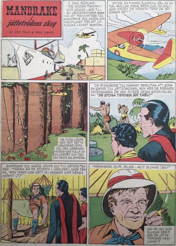 Den inledande sidan med episoden Mandrake i jätteträdens skog, ur Karl-Alfred nr 11, 1950. ©Bulls