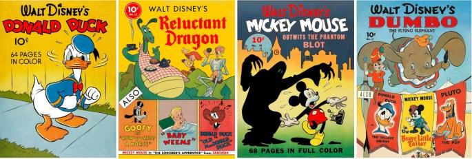 Omslag till Four Color #4, #13, #16 och #17 ur första serien. ©Dell/Disney