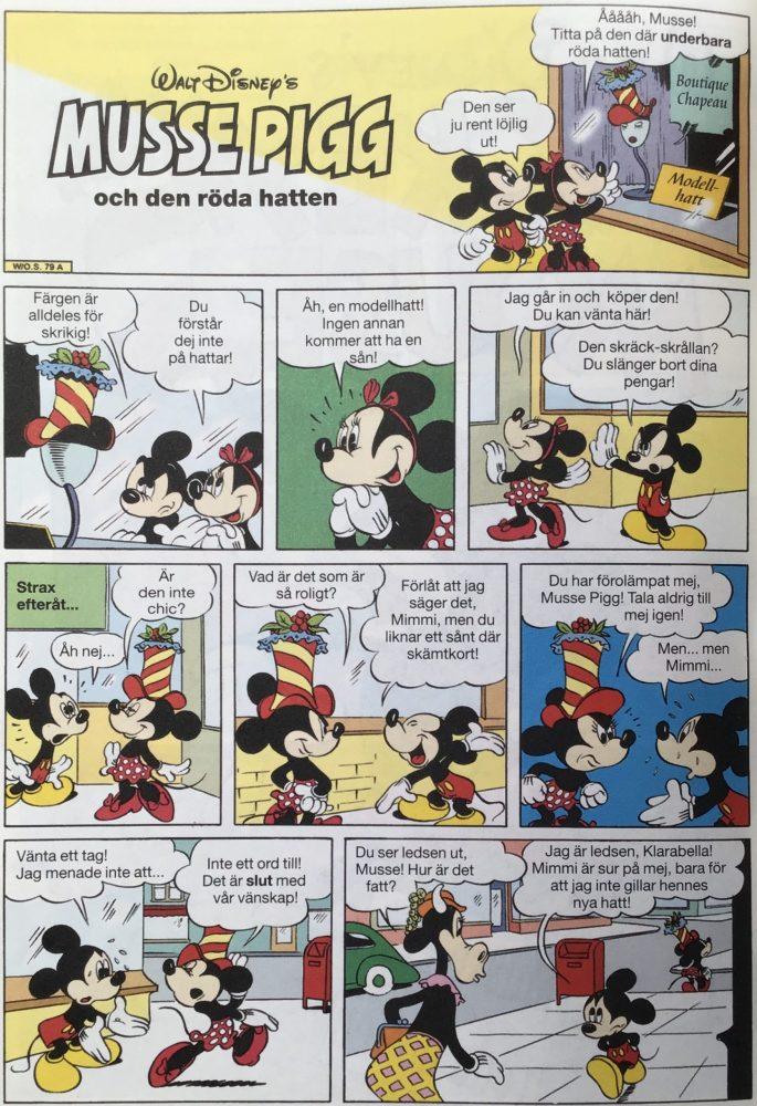 Första sidan ur Musse Pigg och den röda hatten, från Kapten Morgans skatt (2001). ©Egmont/Disney