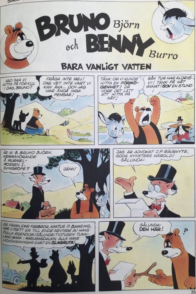 Första sidan ur episoden Bara vanligt vatten, med Bruno Björn och Benny Burro. ©Turner
