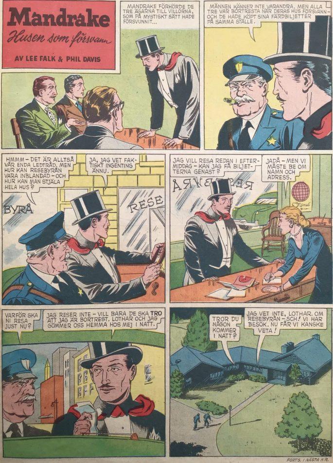 En sida med Mandrake i Karl-Alfred nr 6, 1952. ©Bulls
