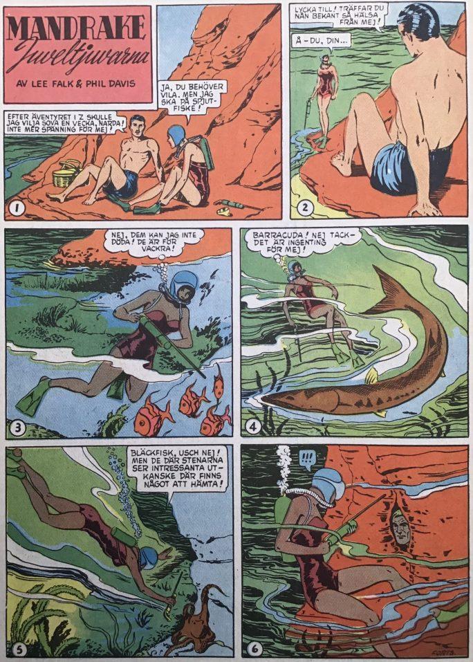 Den inledande sidan med episoden Juveltjuvarna, ur Karl-Alfred nr 39, 1953. ©Bulls