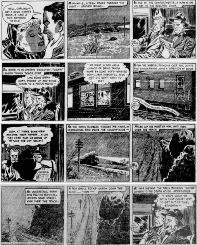 Inledningen av episoden The Case of the Crooked Coroner, dagsstrippar i original från 10-13 mars 1948. ©KFS