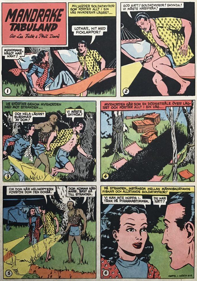 En sida med Mandrake i Karl-Alfred nr 7, 1952. ©Bulls