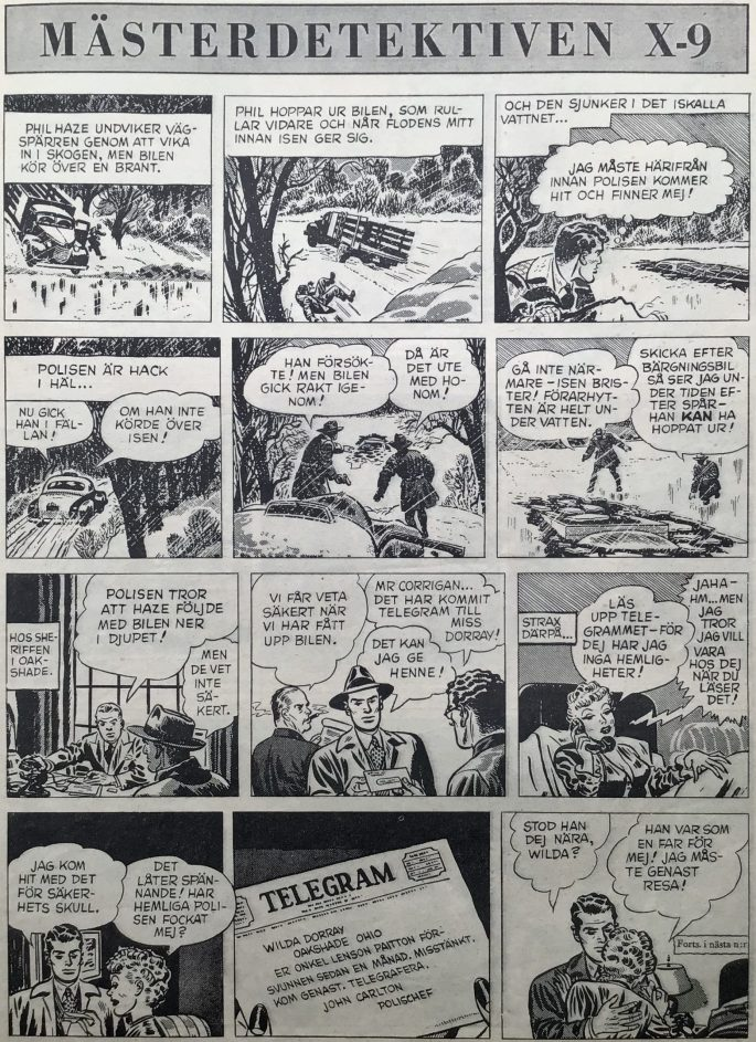 Avslutningen på The Case of the Bandaged Ballplayer, och inledningen till The Case of the Sinister Sonata ur Agent X-9 i Karl-Alfred nr 30, 1950. ©Bulls