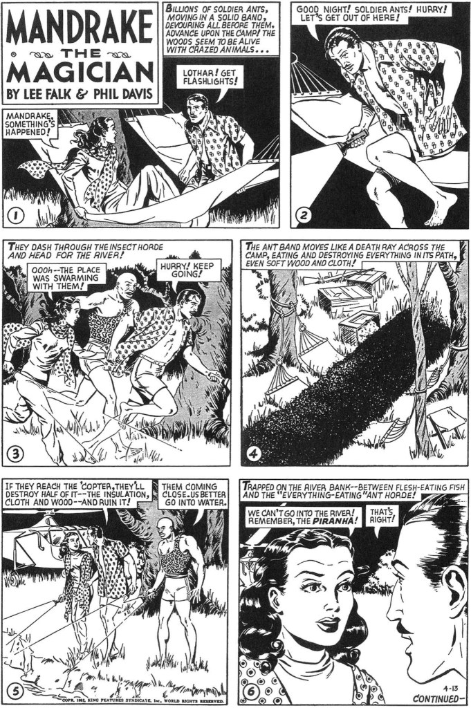 Motsvarande söndagssida med Mandrake i original från 13 april 1952. ©KFS