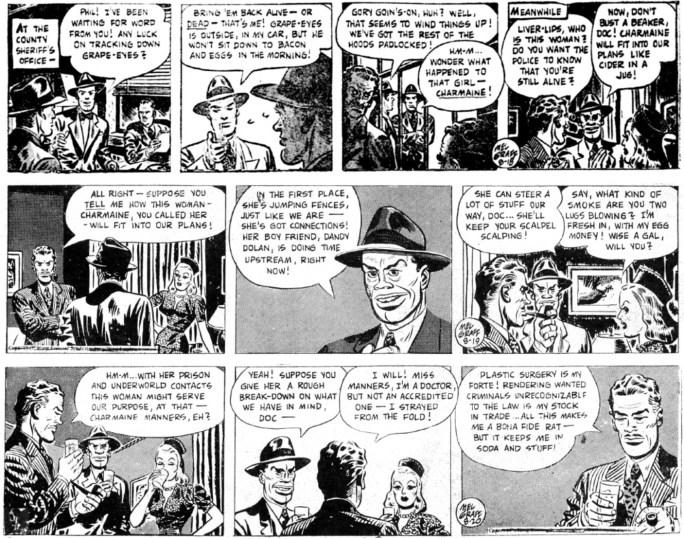 Inledande dagsstrippar i original från 18-20 augusti 1947. ©KFS