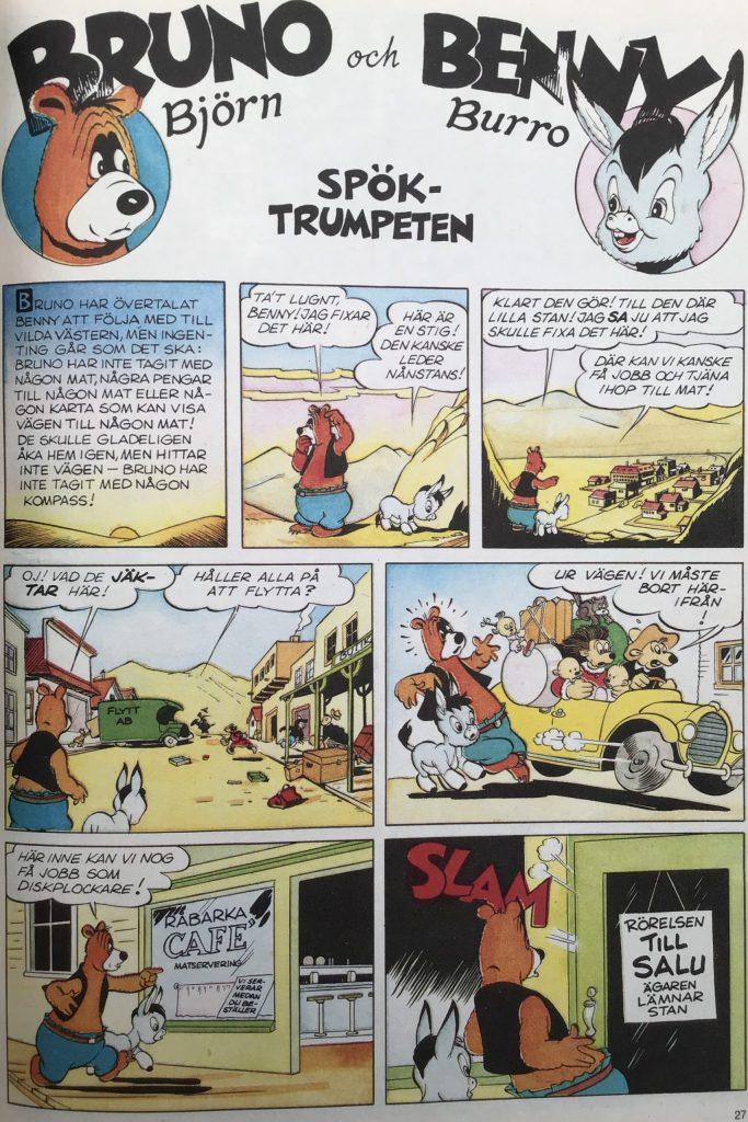 Första sidan ur episoden Spöktrumpeten med Bruno Björn och Benny Burro. ©Turner