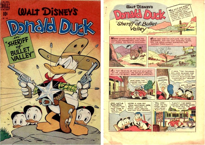 Omslag och inledande sida till Sheriff of Bullet Valley (oktober 1948) ur Four Color Comic #199. ©Dell/Disney