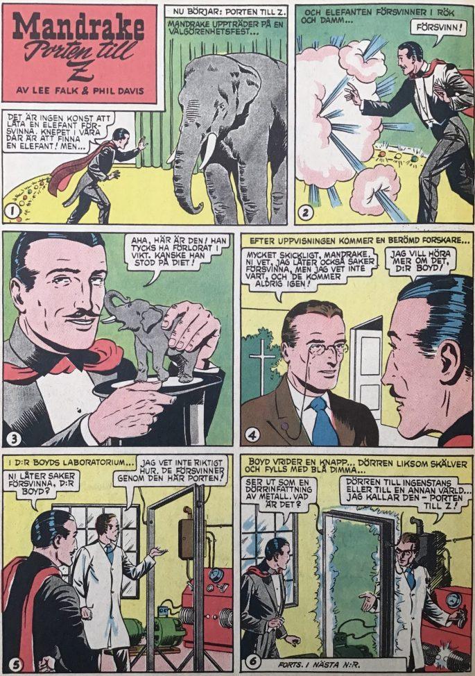 Den inledande sidan med episoden Porten till Z, ur Karl-Alfred nr 20, 1953. ©Bulls