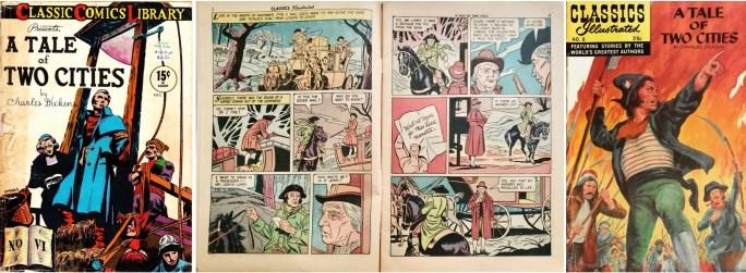 Omslag till Classic Comics #6  (1942), ett uppslag (1956) och nytt omslag (1968) ur Classics Illustrated #6. ©Gilberton