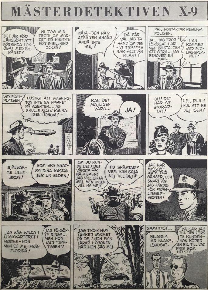 En sida Agent X-9 i Karl-Alfred nr 36, 1949. ©Bulls