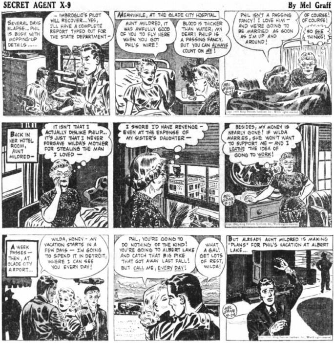 Avslutande dagsstrippar i original ur episoden Messing Memory från 22-24 september 1949. ©KFS