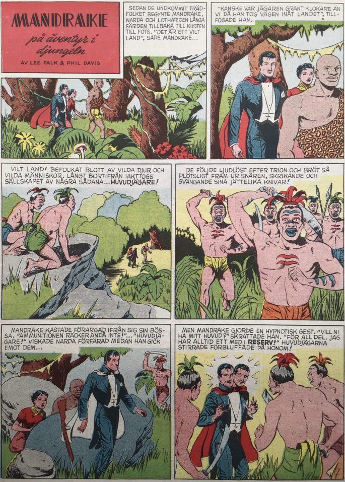 Den inledande sidan med episoden Mandrake på äventyr i djungeln, ur Karl-Alfred nr 25, 1950. ©Bulls