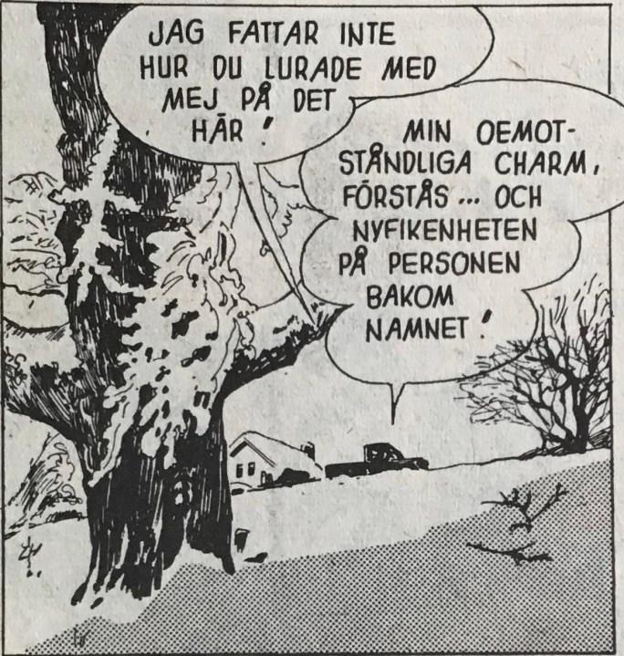 Pratbubblor har blivit retuscherade och nya, större, har tillkommit (Eva och jag av Stan Drake ur Story nr 5, 1976). ©KFS