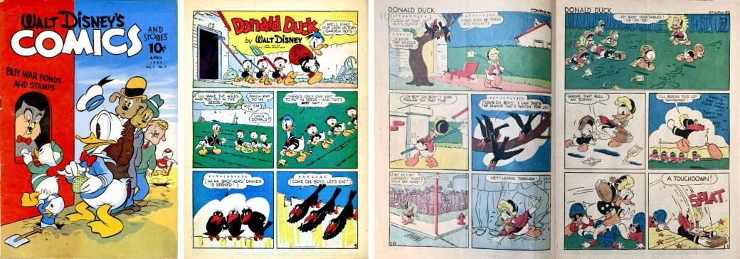 Omslag, förstasida och ett uppslag ur Walt Disney's Comics and Stories #31. ©Dell/Disney