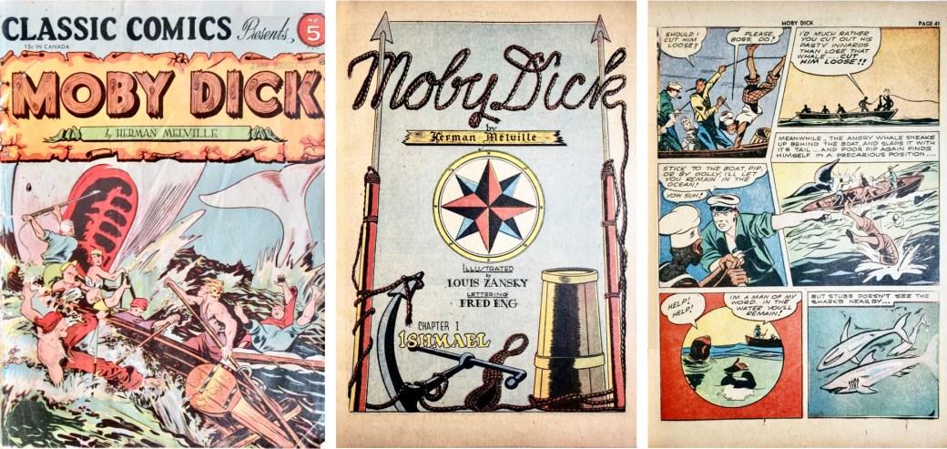 Omslag, förstasida och en sida ur Classic Comics #5 (1942). ©Gilberton