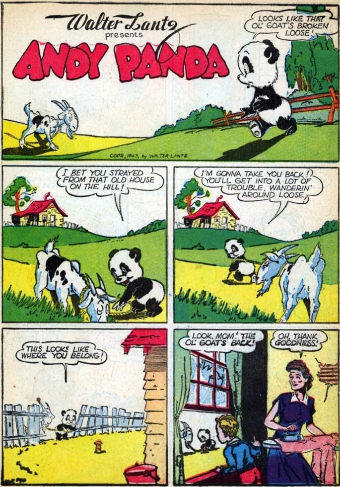 Första sidan med Andy Panda ur New Funnies #76 (1943). ©Dell/Lantz