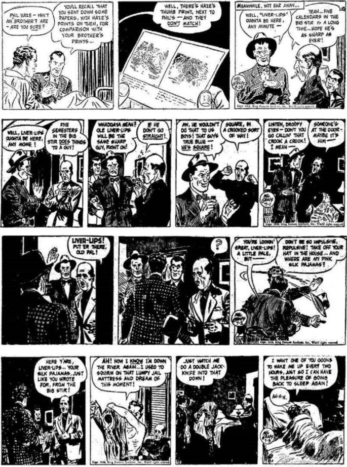 Inledande dagsstrippar i original från 4-7 februari 1946. ©KFS