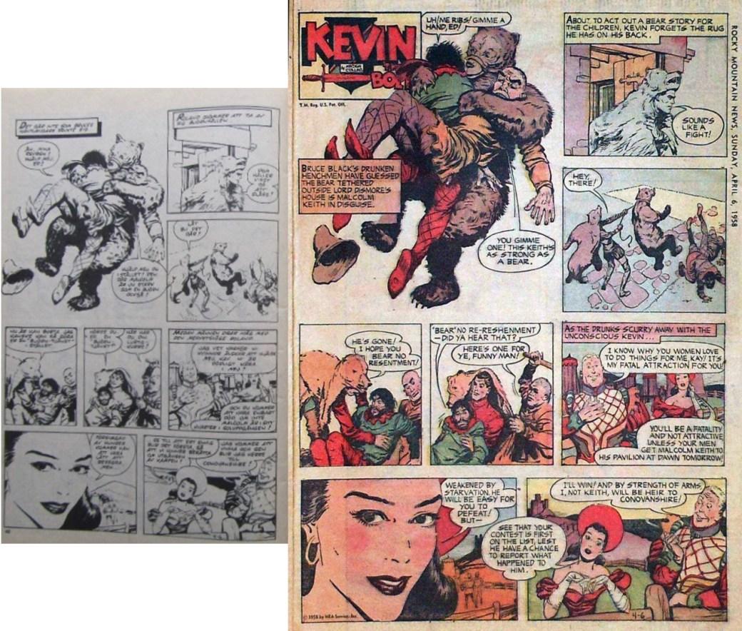Roland den djärve i Fantomen nr 13, 1977, och söndagssidan den 6 april 1958. ©PIB/NEA