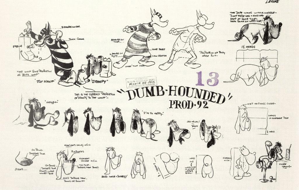 """I filmskissen från den 25 mars 1942, står det """"Droopy"""" intill bilden på hunden uppe till vänster.k"""