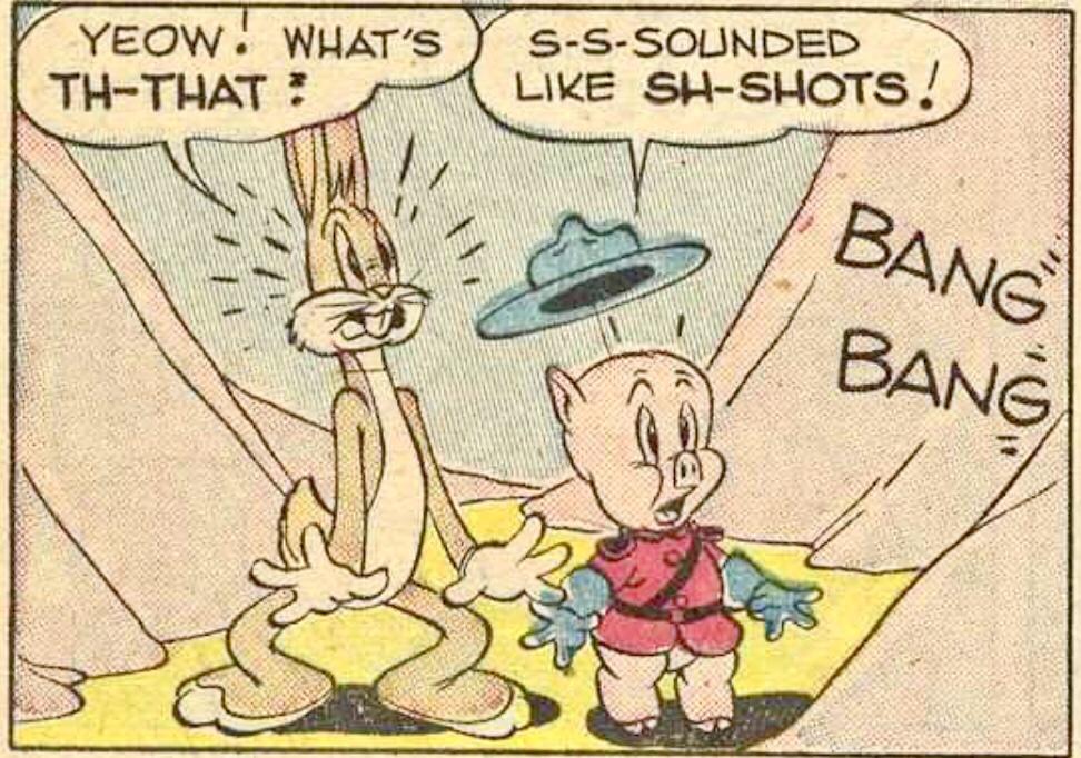 Barks tecknade Pelle Gris, men i vissa fall kan man se en linje på halsen som indikerar att ett omtecknat Bugs-huvud har blivit inklistrat. ©Dell