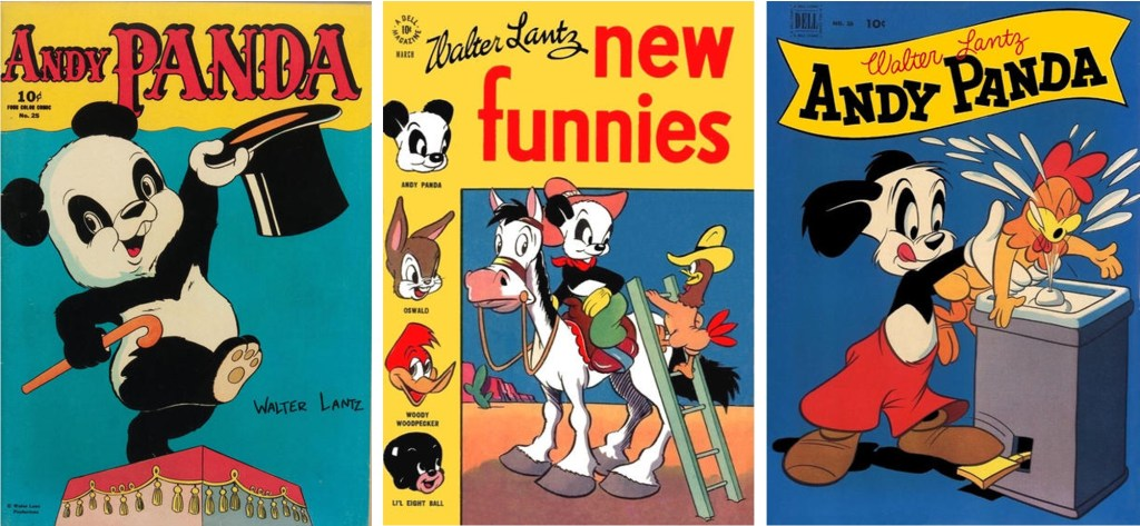 Omslag till Four Color #25 (1943), Walter Lantz New Funnies #109 (1946), och Walter Lantz Andy Panda #16 (1952-53). ©Dell
