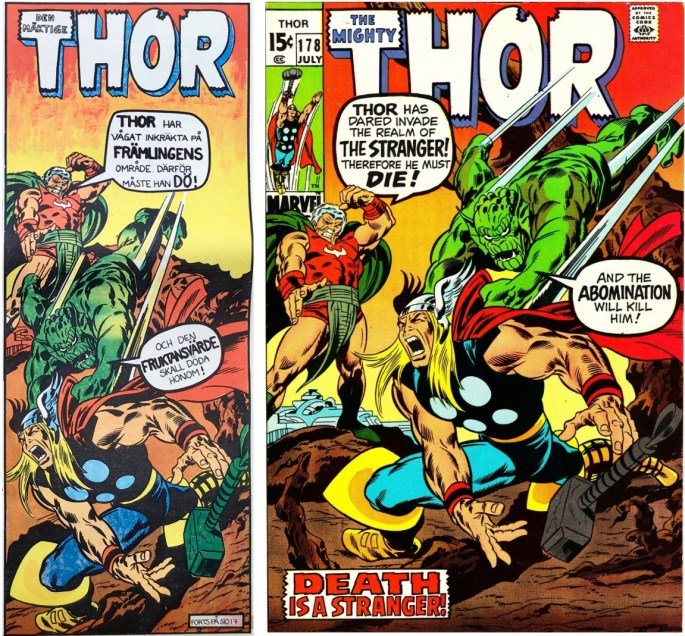Thor från framsidan på Serie-Pressen nr 3, 1971, och omslag till Thor #178. ©Marvel