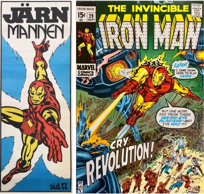 Inledande ruta från framsidan på Serie-Pressen nr 10, 1972, och omslag till Iron Man #29 (1970). ©Marvel