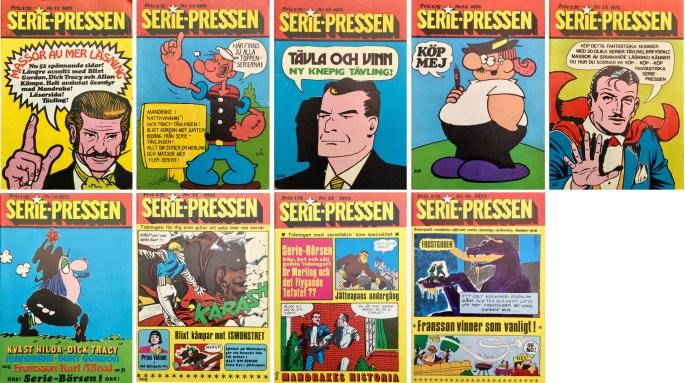 De sista numren av Serie-Pressen var i vanligt serietidningsformat. ©Saxon&Lindström
