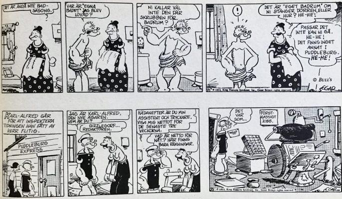 Ett par dagsstrippar från lördag den 16 och måndag den 18 december 1930. ©KFS