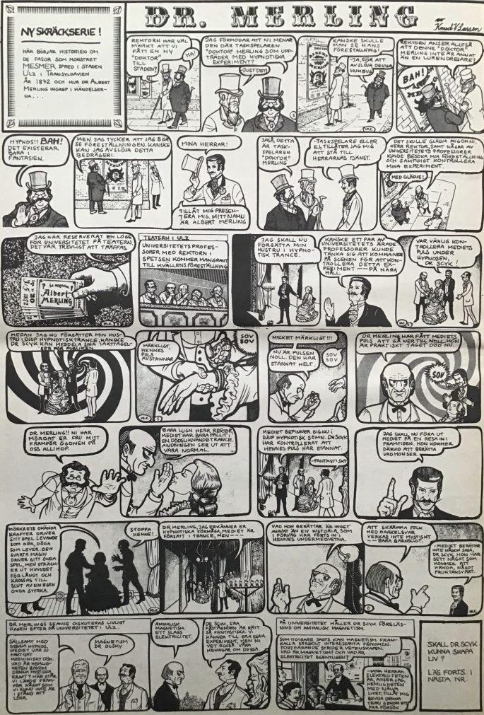 Introduktionen av Dr. Merling i Serie-Pressen nr 1, 1971. ©Saxon&Lindström