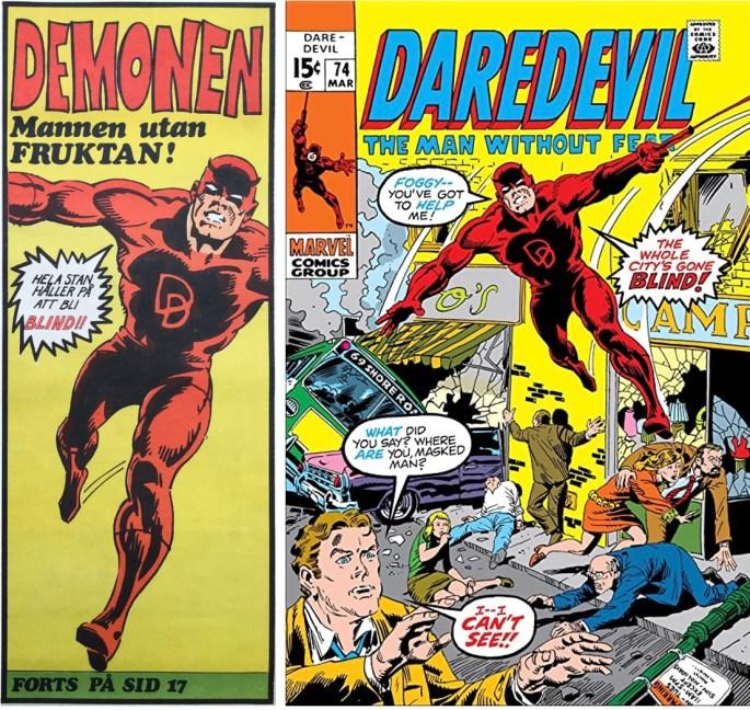 Inledande ruta från framsidan på Serie-Pressen nr 9, 1972, och omslag till Daredevil #74 (1971). ©Marvel