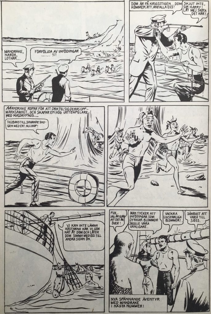 Sista sidan med Mandrake i Serie-Pressen nr 11, 1972. ©Bulls
