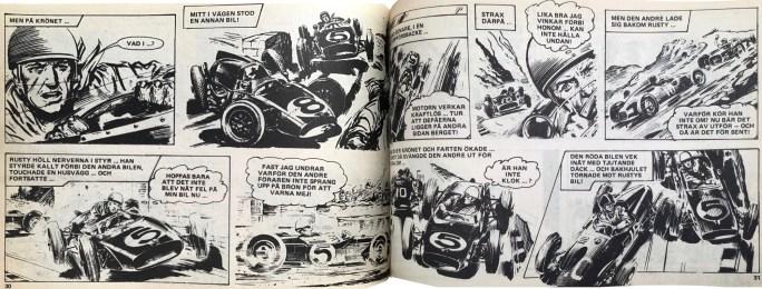 Ett uppslag med Rusty Steele ur Veckans serier, nr 27, 1972. ©IPC