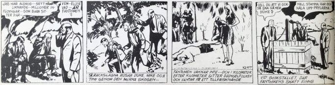 Den inledande dagsstrippen ur Comics nr 3, från 27 oktober 1941, tecknad av Ray Moore. ©Bulls