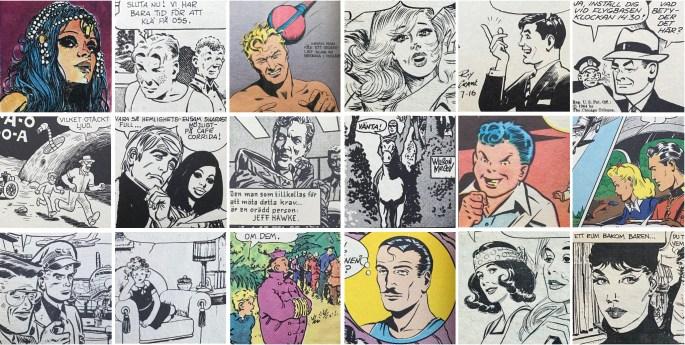 Några seriefigurer ur äventyrsserier i Comics.