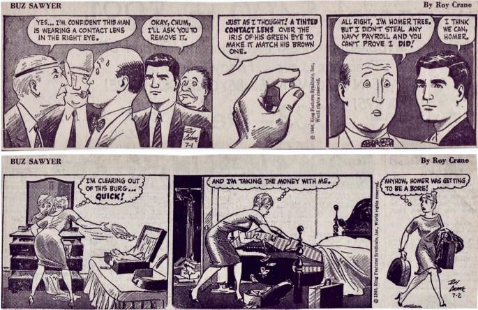 Motsvarande dagsstrippar i original, från 1-2 juli, 1960. ©KFS
