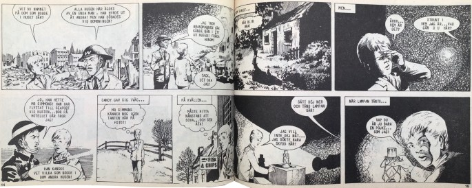 Ett uppslag med Vem är Sandy? ur Veckans serier, nr 17, 1972. ©IPC