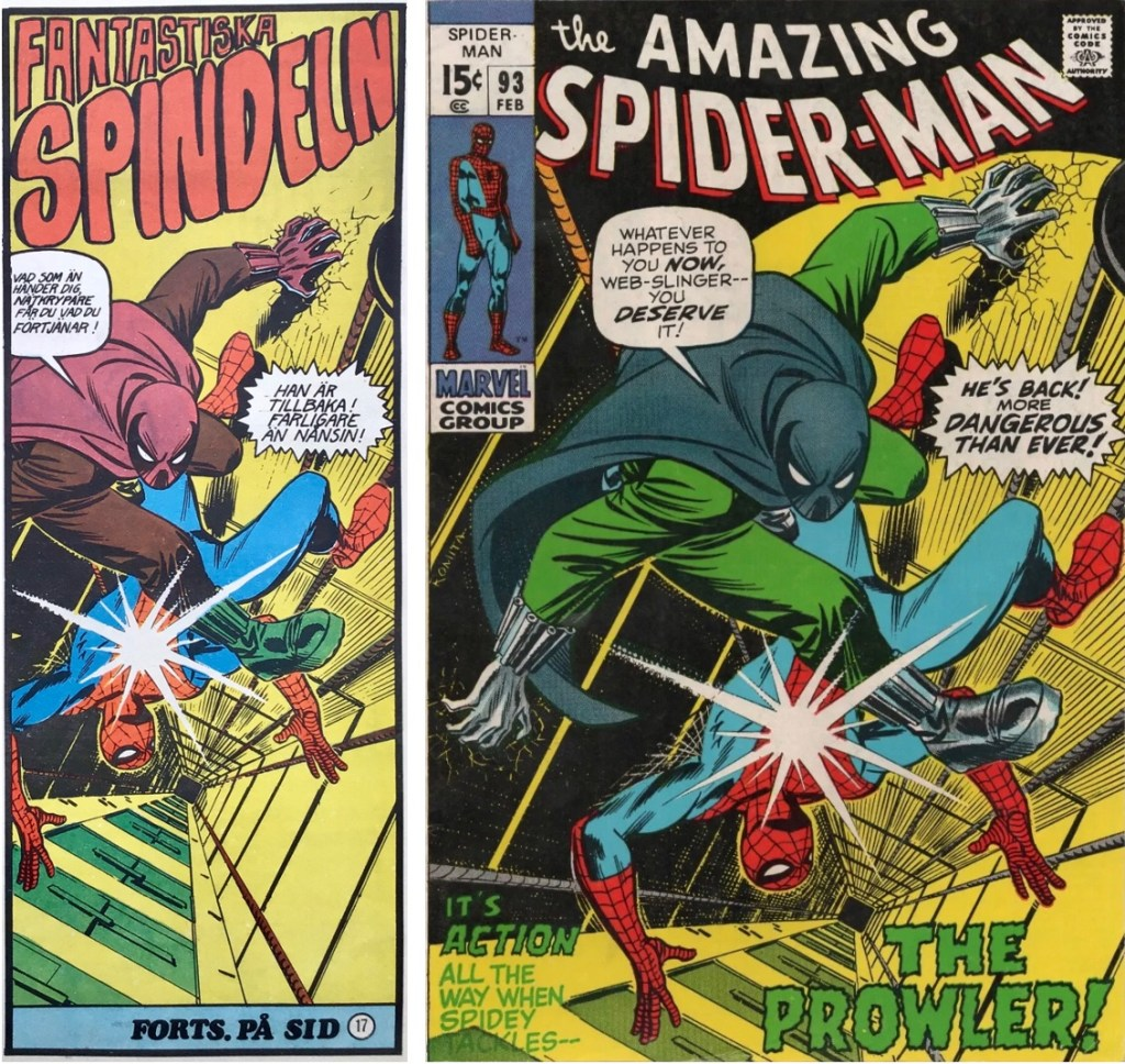 Spindeln från framsidan på Serie-Pressen nr 6, 1972, och omslag till Amazing Spider-Man #93. ©Marvel