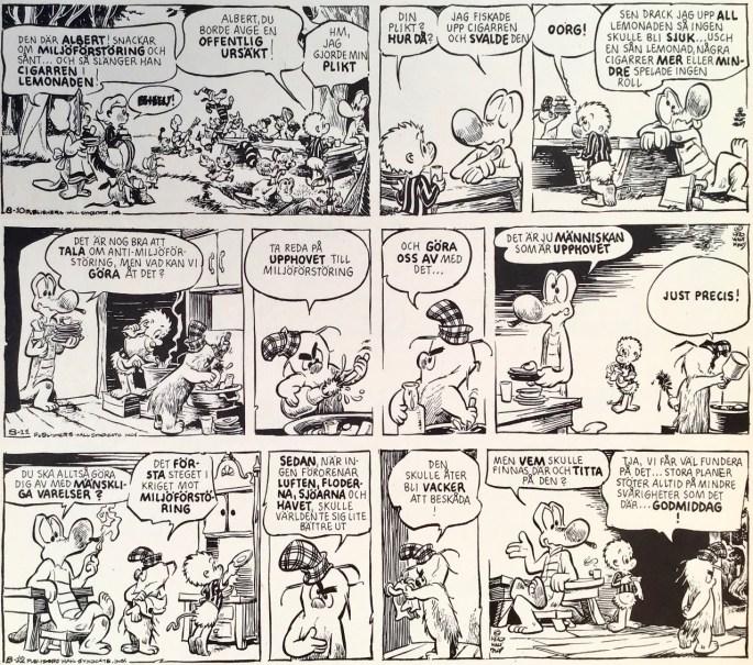Tre dagsstrippar med Pogo, från 10-12 augusti 1970, ur Comics nr 2. ©Europa Press
