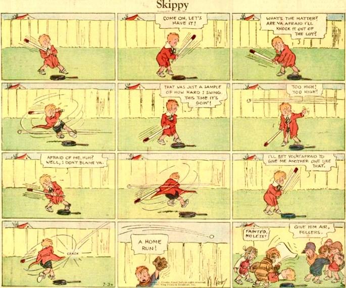 En söndagsstripp med Skippy från 30 juli 1933 (dagen innan den översta strippen ovan). ©KFS